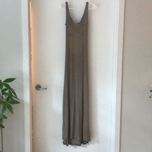 Brown and bright stripped long dress